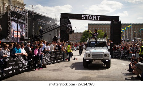 STOCKHOLM - MAY 24 2015 A Twisted Defender at the start of the 2015 Gumball 3000 Rally from Stockholm to Vegas. The Gumball is a popular car rally costing roughly £40k for the week.