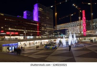 STOCKHOLM - NOV 25, 2018: Gigantic elk or moose christmas decoration made of led light at Sergels torg, Stockholm, Sweden, November 25 2018