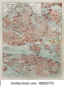 Stockholm old map from the end of 19th century. Picture from the original Meyer Lexicon book (written in German language) edition 1908.