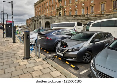 Stockholm, Old Town around the Royal Palace - street recharging point for electric cars