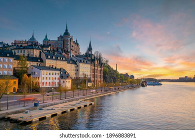 Stockholm old town city skyline, cityscape of Sweden at sunset