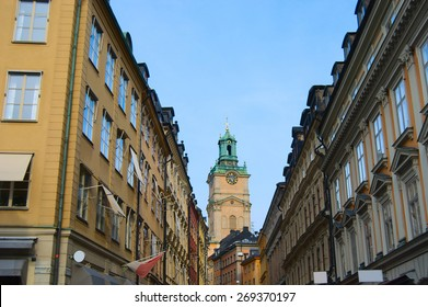 Stockholm Old town, Gamla Stan, view from Riddarhustorget on St. Nicholas Cathedral