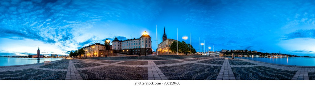 Stockholm Old Town  Skyline in Gamla Stan. 360 degree Panoramic montage from 21 images