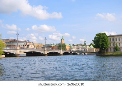 Stockholm, panorama of Parliament House, Norrbro bridge, spire of Riddarholmen Church and City Hall, Sweden