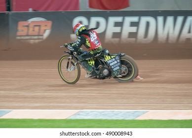 STOCKHOLM - SEPT 24, 2016: Antonio Lindb�¤ck second in the heat at Stockholm FIM Speedway Grand Prix at Friends Arena in Stockholm.