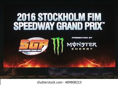 STOCKHOLM - SEPT 24, 2016: Jumbotron at the Stockholm FIM Speedway Grand Prix at Friends Arena in Stockholm.