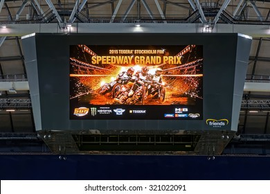 STOCKHOLM - SEPT 25, 2015: LCD jumbotron showing advert for the event at the TEGERA Stockholm FIM Speedway Grand Prix at Friends Arena in Stockholm.