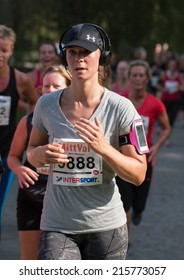 STOCKHOLM SEPTEMBER 06 2014. TJEJMILEN.  A running race each year in Stockholm with only female participants. Malin Markgren.