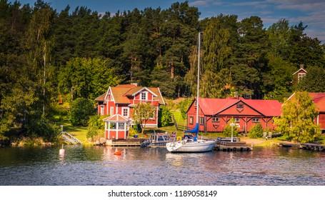 Stockholm - September 23, 2018: Houses in the shores of the Swedish Archipelago, Sweden