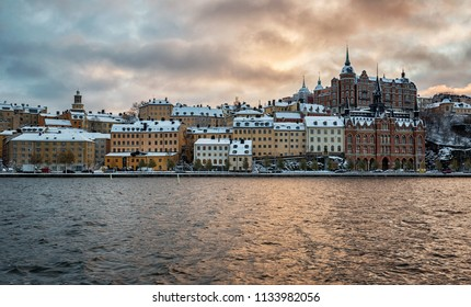 Stockholm Sodermalm, old architecture in winter.