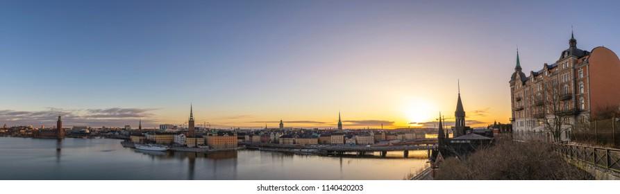 Stockholm sunrise city skyline panorama at Gamla Stan and Slussen, Stockholm Sweden