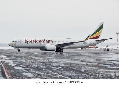 Stockholm / Sweden - 01.31.2019. Arlanda International Airport. Passenger aircraft Boeing 737 MAX8 of Ethiopian Airlines before flight.