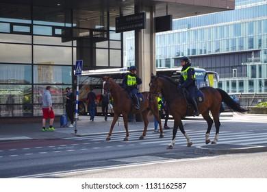 Stockholm, Sweden - 05 July 2018 - The horsemen walking around the city of Stockholm.