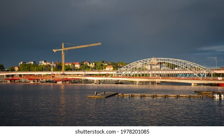 Stockholm, Sweden - 05.21.2021: Ongoing bridge construction between Lidingö island and the Stockholm mainland. This bridge is being built using a moving scaffolding system (MSS).