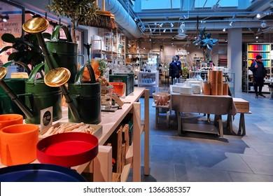Stockholm, Sweden, 07 april 2019 - scandinawian design shop. things for home.