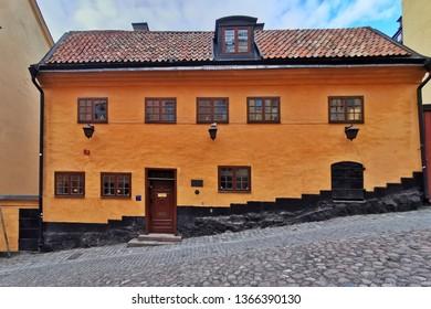 Stockholm, Sweden, 07 april 2019 - typical traditional Swedish house in Stockholm. Stockholm street.