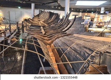 Stockholm, Sweden - 07.19.2017: Medieval Museum. The museum is built around the findings from the largest excavation in Stockholm. The war ship Riddarholmsskeppet