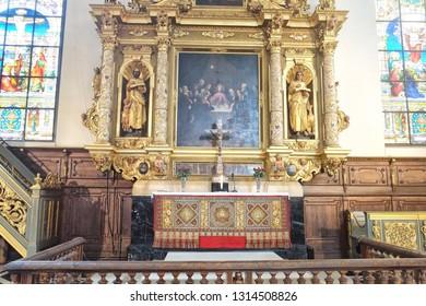 Stockholm, Sweden - 07.20.2017: The German Church, sometimes called St. Gertrude's Church (Swedish: Sankta Gertruds kyrka), is a church in Gamla stan, the old town in central Stockholm, Sweden. Altar