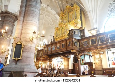 Stockholm, Sweden - 07.20.2017: The German Church, sometimes called St. Gertrude's Church (Swedish: Sankta Gertruds kyrka), is a church in Gamla stan, the old town in central Stockholm, Sweden. Organ