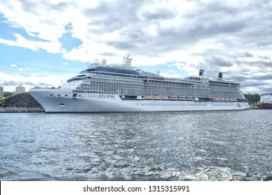 Stockholm, Sweden - 07.21.2017: Celebrity Eclipse is a Solstice-class cruise ship, operated by Celebrity Cruises. She is the sister ship of Celebrity Solstice and Celebrity Equinox