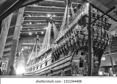 Stockholm, Sweden - 07.22.2017: The Vasa Museum, light. The Vasa is the only preserved seventeenth-century ship in the world and a unique art treasure. More than 95 percent of the ship is original