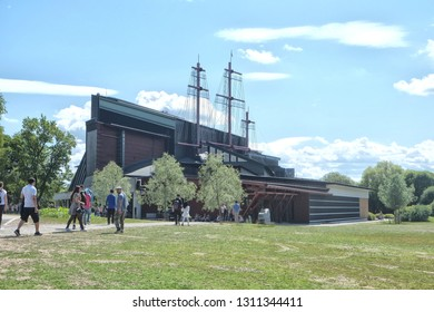 Stockholm, Sweden - 07.22.2017: The Vasa Museum, outside. The Vasa is the only preserved seventeenth-century ship in the world and a unique art treasure. More than 95 percent of the ship is original