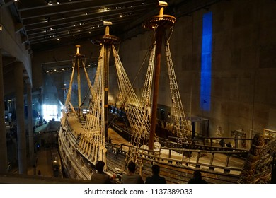 Stockholm, Sweden - 1 July 2018: Vasa Museum; people admiring salvaged 17th century ship