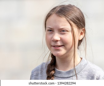 Stockholm, Sweden. 10 May, 2019. 16-year-old Swedish climate activist Greta Thunberg demonstrating in Stockholm on Fridays.