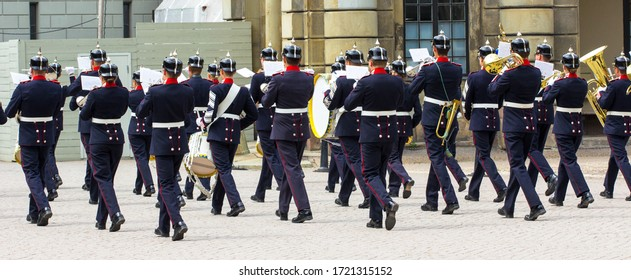 Stockholm, Sweden - 11 June, 2018: A military band in full dress goes into the distance