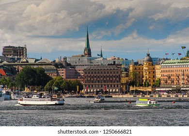 Stockholm, Sweden, 18 June 2018 - Scenic summer view of the Old Town pier architecture in Stockholm. Stockholm harbor Sweden