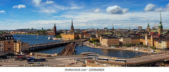 Stockholm, Sweden, 18 June 2018 - Panoramic view of Old Town (Gamla Stan) in Stockholm, Sweden in a summer.