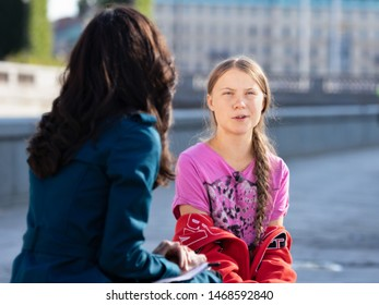 Stockholm, Sweden. 2 August, 2019. 16-year-old Swedish climate activist Greta Thunberg last demonstration in Stockholm on Fridays before going to the US. Being interviewed by CBS