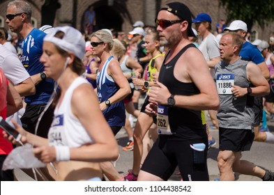 Stockholm, Sweden - 2 June 2018. The start of the 40th Stockholm marathon 2018 in very hot conditions.