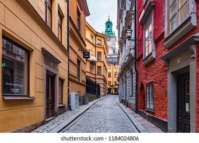 Stockholm, Sweden - 20 September, 2018: Old Town in Stockholm (Gamla Stan).