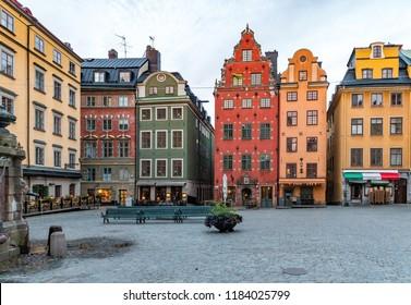 Stockholm, Sweden - 20 September, 2018: Stortorget in Old Town in Stockholm (Gamla Stan).