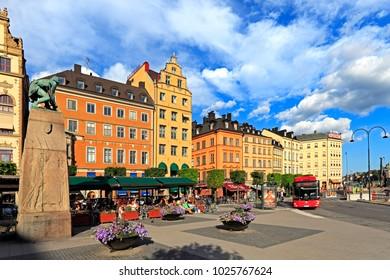 Stockholm / Sweden - 2013/08/01: Old town quarter - Kornhamnstorg street in Gamla Stan district