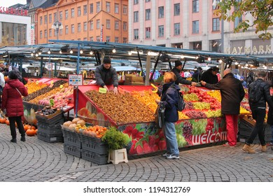 Stockholm, Sweden - 2016-10-12 Outdoor market selling a variety of products, foods, and clothing  in Stockholm, Sweden