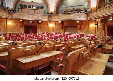 Stockholm, Sweden - 2018 09 30: Stockholm Parliament Interior, Sweden