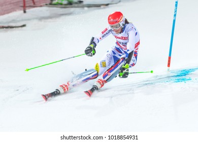 STOCKHOLM, SWEDEN, 2018, JAN 30: Female skier Petra Vlhova (SLO) in the parallel city event in Stockholm the week before the olympics. Third place
