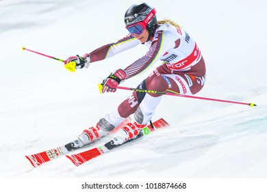 STOCKHOLM, SWEDEN, 2018, JAN 30: Female skier Frida Hansdotter i(SWE) n the parallel city event in Stockholm the week before the olympics. 4th place
