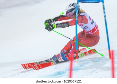 STOCKHOLM, SWEDEN, 2018, JAN 30: Female skier Nina Haver Loeseth (NOR) in the parallel city event in Stockholm the week before the olympics. Winner