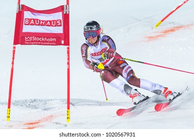 STOCKHOLM, SWEDEN, 2018, JAN 30: Female skier Frida Hansdotter in the parallel city event in Stockholm the week before the olympics.