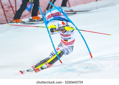 STOCKHOLM, SWEDEN, 2018, JAN 30: Skier Linus Strasser (GER) in the parallel city event in Stockholm the week before the olympics. 3rd place