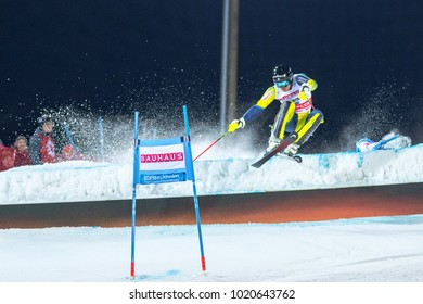 STOCKHOLM, SWEDEN, 2018, JAN 30: Skier Andre Myhrer (SWE) in the parallel city event in Stockholm the week before the olympics. 2nd place
