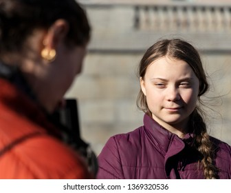 Stockholm, Sweden. 22 March, 2019. 16-year-old Swedish climate activist Greta Thunberg demonstrating in Stockholm on Fridays. Posing for photo.