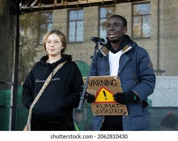 Stockholm, Sweden. 22 October, 2021. Swedish climate activist Edwin Namakanga inspired by Greta Thunberg protest in Stockholm