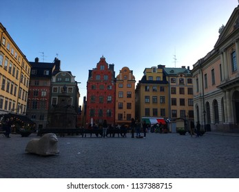 Stockholm, Sweden - 23 June 2018: Stortorget (Big Square) with the Stockholm Stock Exchange/Nobel Museum and Library.