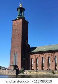 Stockholm, Sweden - 24 June 2018: Stockholm City Hall exterior