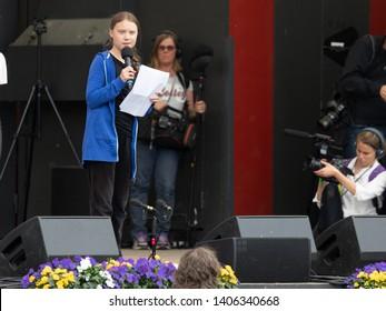 Stockholm, Sweden. 24 May, 2019. 16-year-old Swedish climate activist Greta Thunberg demonstrating in Stockholm on Fridays.