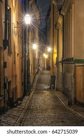 STOCKHOLM, SWEDEN - 29 NOVEMBER, 2014: Narrow street in the old part of Stockholm, Sweden on 29 November, 2014.